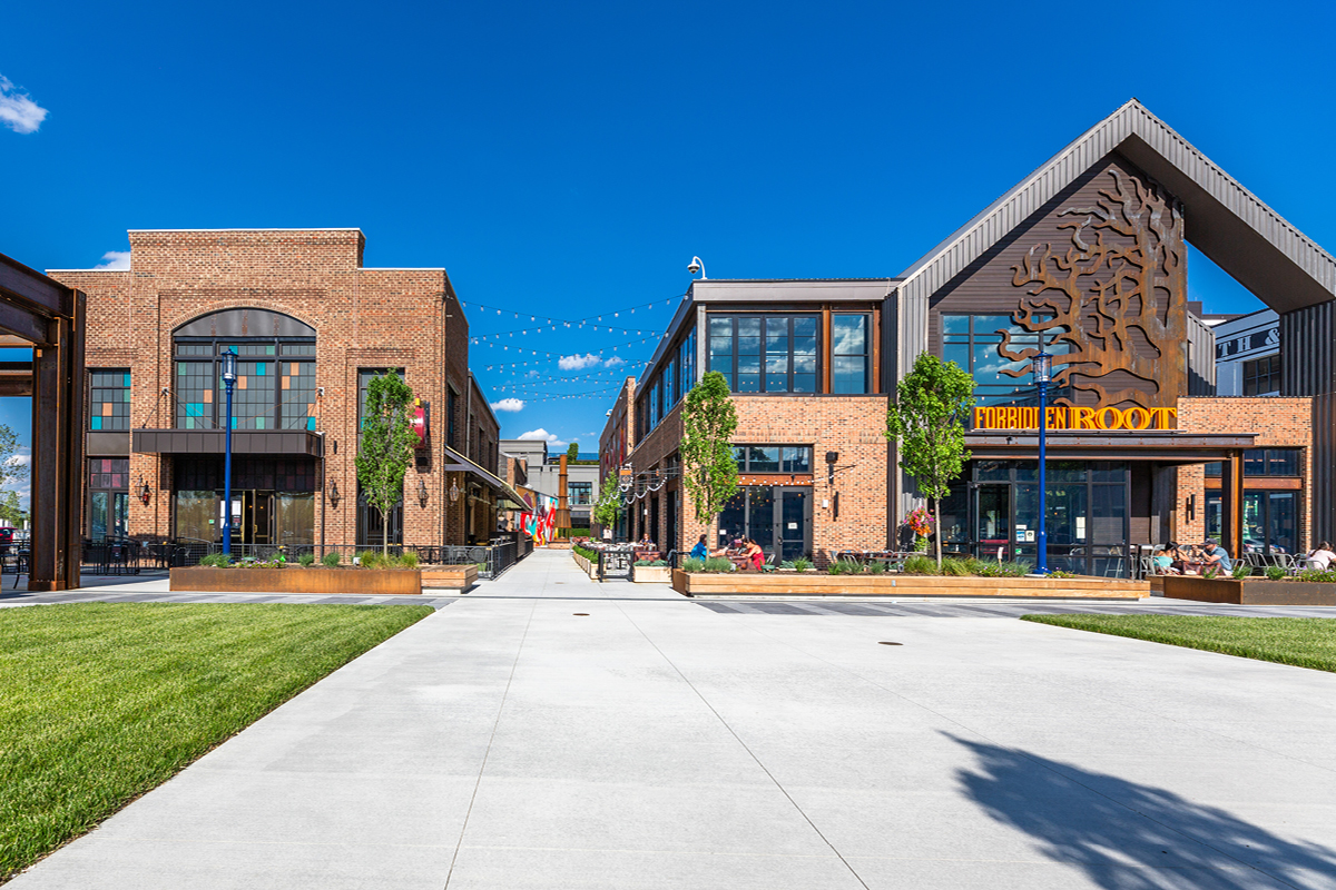 plaza adjacent to Forty Deuce and Forbidden Root at Easton Urban District