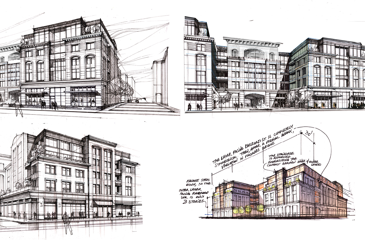 Ronkonkoma Station Square Architects, concept sketches