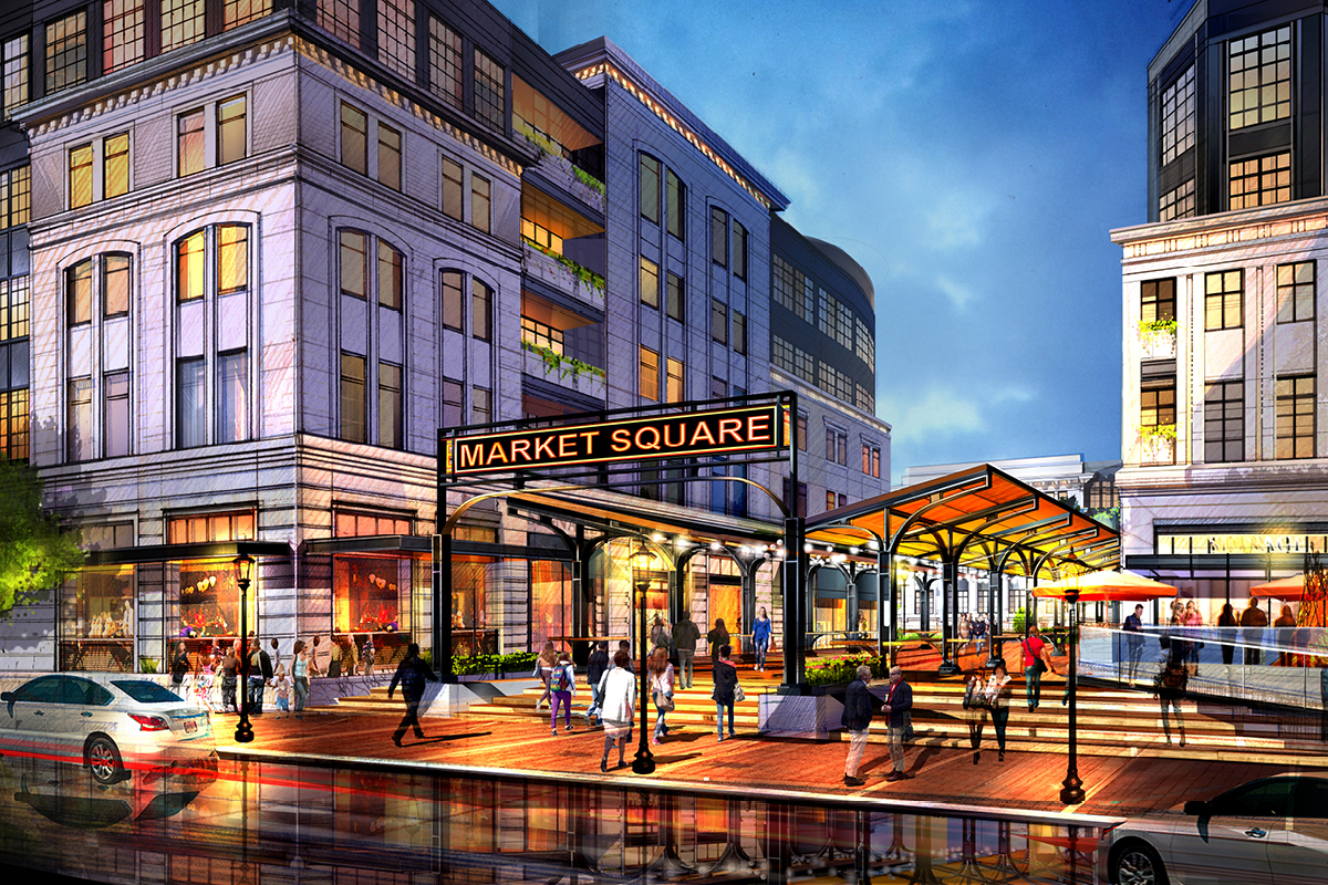 Ronkonkoma Station Square Architects, market square illustration