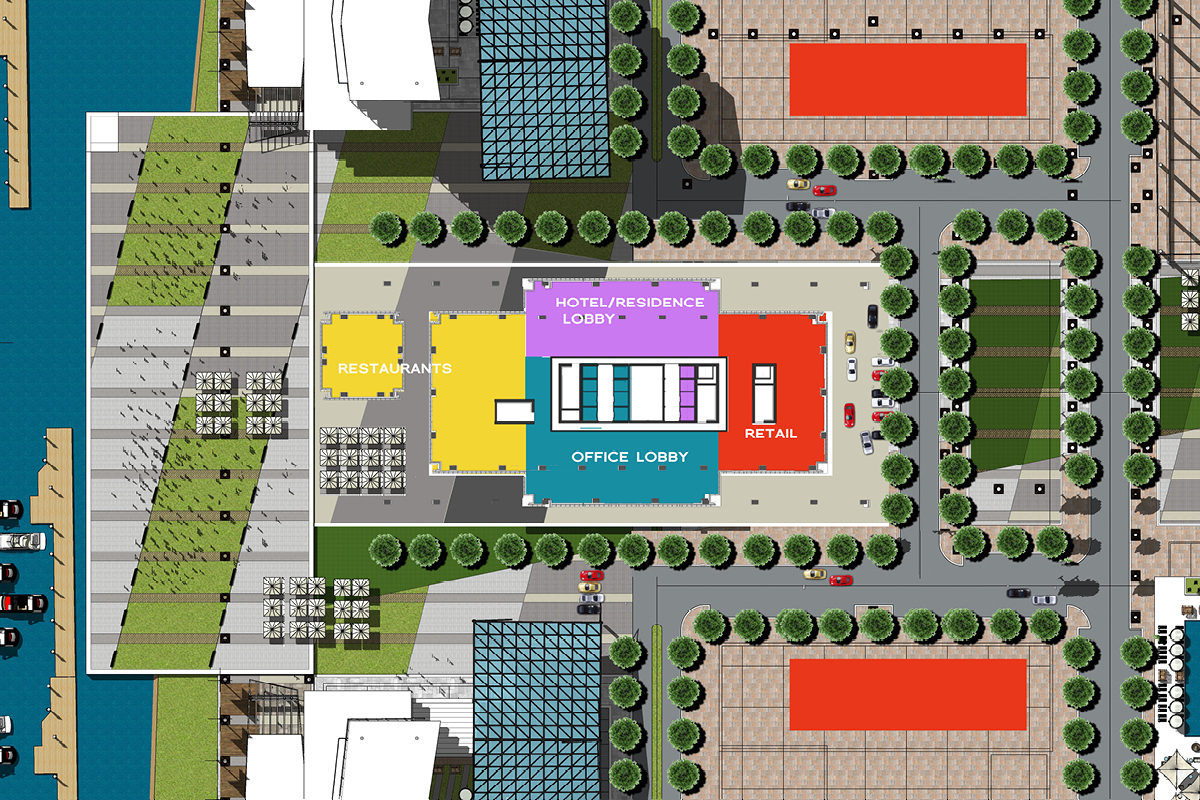 ground level plan of Marina Tower